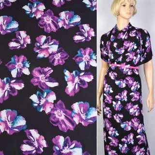 Креп черный в фиолетовые цветы ш.150