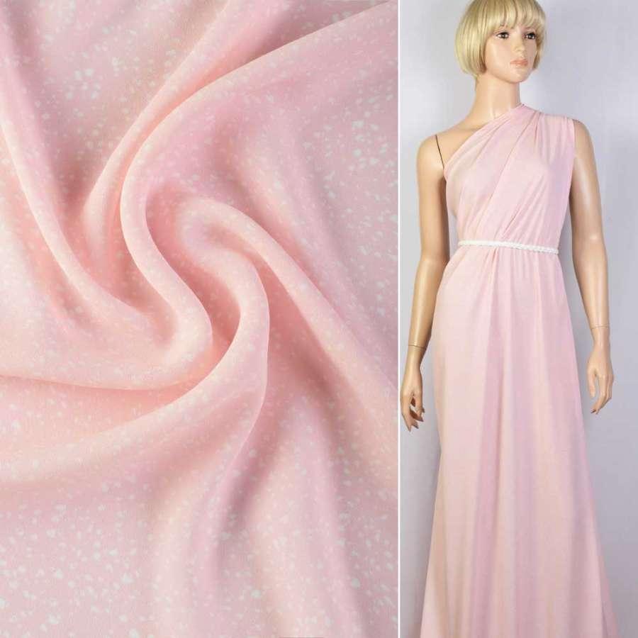 Креп рожевий в білі краплі ш.150