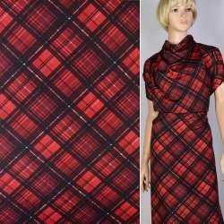 Креп красный в бордовые квадраты ш.150