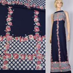 Креп синий темный в розовые розы и бело-синюю шотландку ш.150