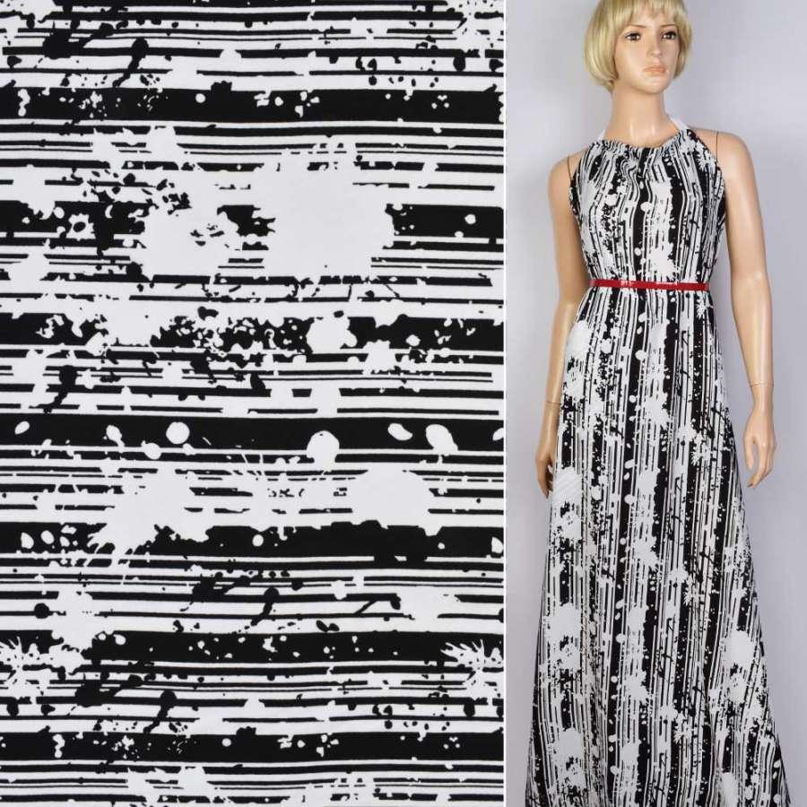 Креп черно-белый линии, цветы ш.150