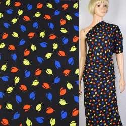 Креп черный в красные, желтые, синие цветы ш.150