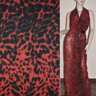 Крепдешин красно-черный принт леопард ш.150