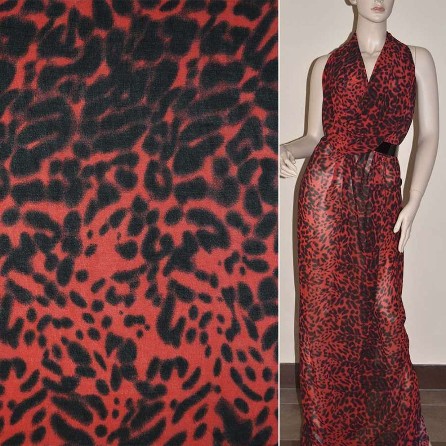 Крепдешин красно черный принт леопард ш.150