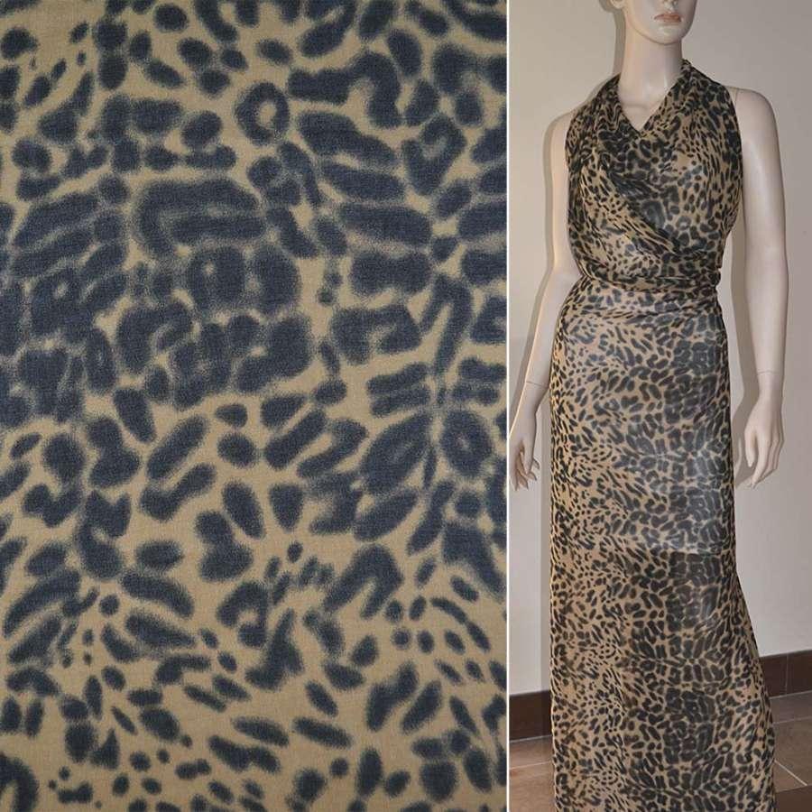 Крепдешин бежево черный принт леопард ш.150
