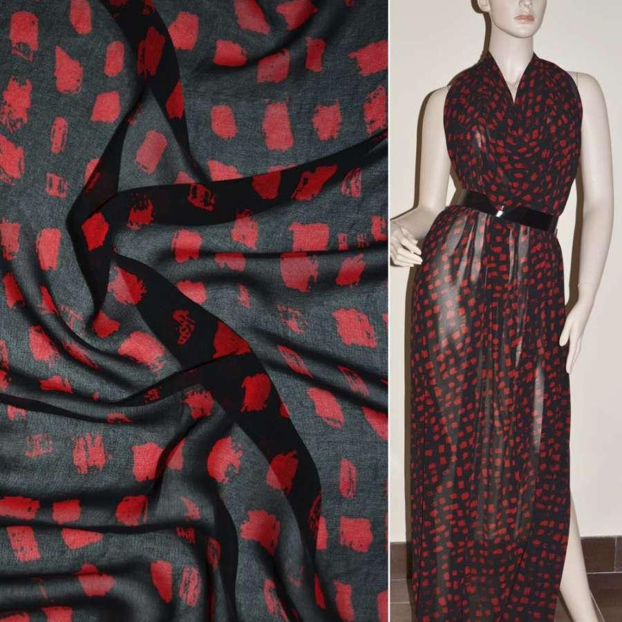 Крепдешин черный в красные квадраты ш.150