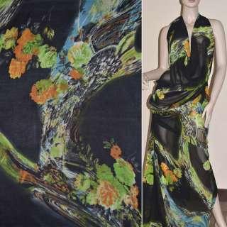 Крепдешин черный с оранжево салатов. цветами ш.150