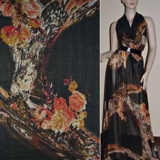 Крепдешин черный с коричнево красными цветами ш.150