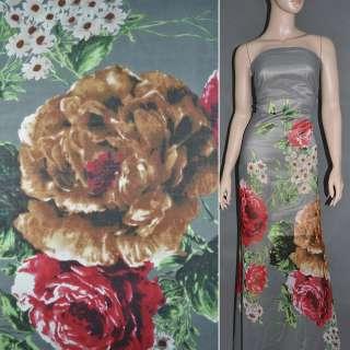 Крепдешин серый с белыми ромашками и красными цветами ш.150