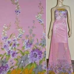 Крепдешин розовый с 2-ст. купоном в сиреневые цветы ш.150