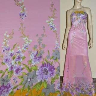 Крепдешин розовый с двухсторонним купон сиренев цветы ш.150