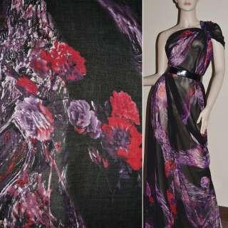 Крепдешин черный с сиренево красными цветами ш.150