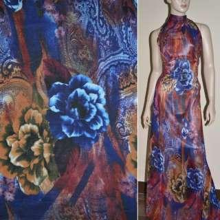 Крепдешин красно синий с цветами и огурцами ш.150