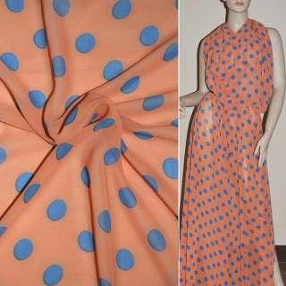 Крепдешин оранжево розовый с синими кругамиш.150