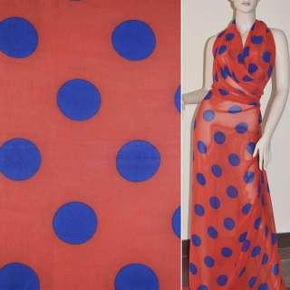 Крепдешин красный с синими кругами ш.150