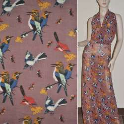 Крепдешин розово-серый птицы ш.150