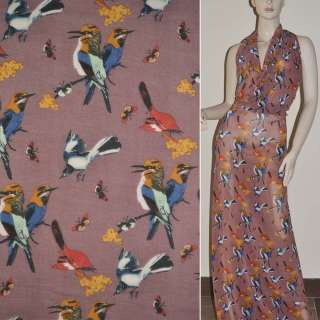 Крепдешин розово серый птицы ш.150
