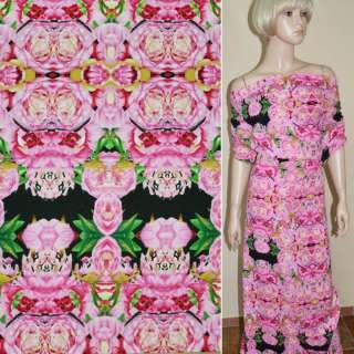 Креп черный с розовыми цветами ш.154