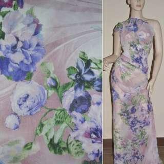Крепдешин молочно-розовый с сине-розовыми цветами ш.150