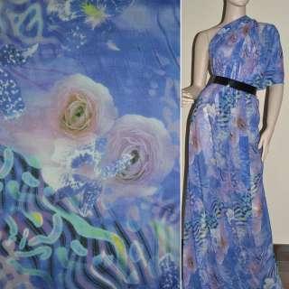 Крепдешин синий светлый в розовые цветы