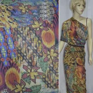 Крепдешин бежево-синий с абстрактным рисунком и лилиями ш.150
