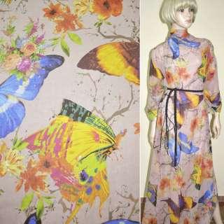 Крепдешин серо-розовый с цветами и синими бабочками ш.150