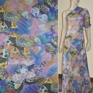 Крепдешин розово-голубой с бабочками (принт) ш.150