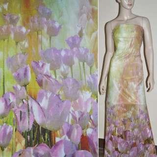 Крепдешин салатово розовый с тюльпанами купон (принт) ш.150