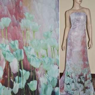 Крепдешин розово голубой с тюльпанами купон ш.150