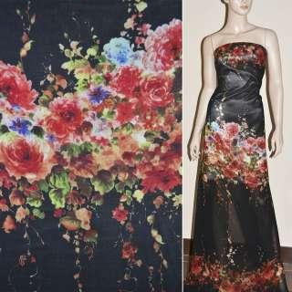 Крепдешин черный с бордовыми розами купон (принт) ш.150