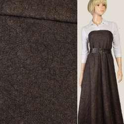 Шерсть дублированная коричнево-бежевая с черной вышивкой, ш.143