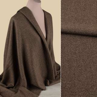 Жаккард двухсторонний костюмный бежево-коричневый зигзаги ш.150