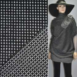 Ткань костюмная 2-ст. черная в белый горох+клетка ш.150