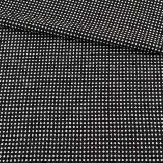 Тканина костюмна 2-ст. чорна в білий горох + клітка ш.150