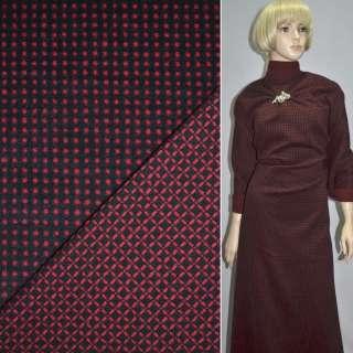 Тканина костюмна 2-ст. чорна в червоний горох + клітка ш.150