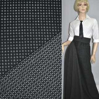 Тканина костюмна 2-ст. чорна в сірий горох + клітка ш.150