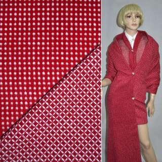 Тканина костюмна 2-ст. червона в білий горох + клітка ш.150