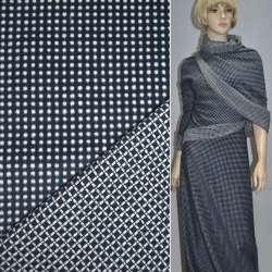 Ткань костюмная 2-ст. синяя в белый горох+клетка ш.150