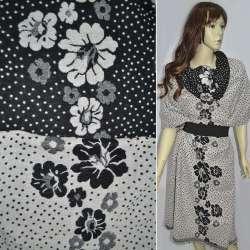 Жаккард костюмный 2-ст. молочно-черный с крапками и цветами (раппорт) ш.150
