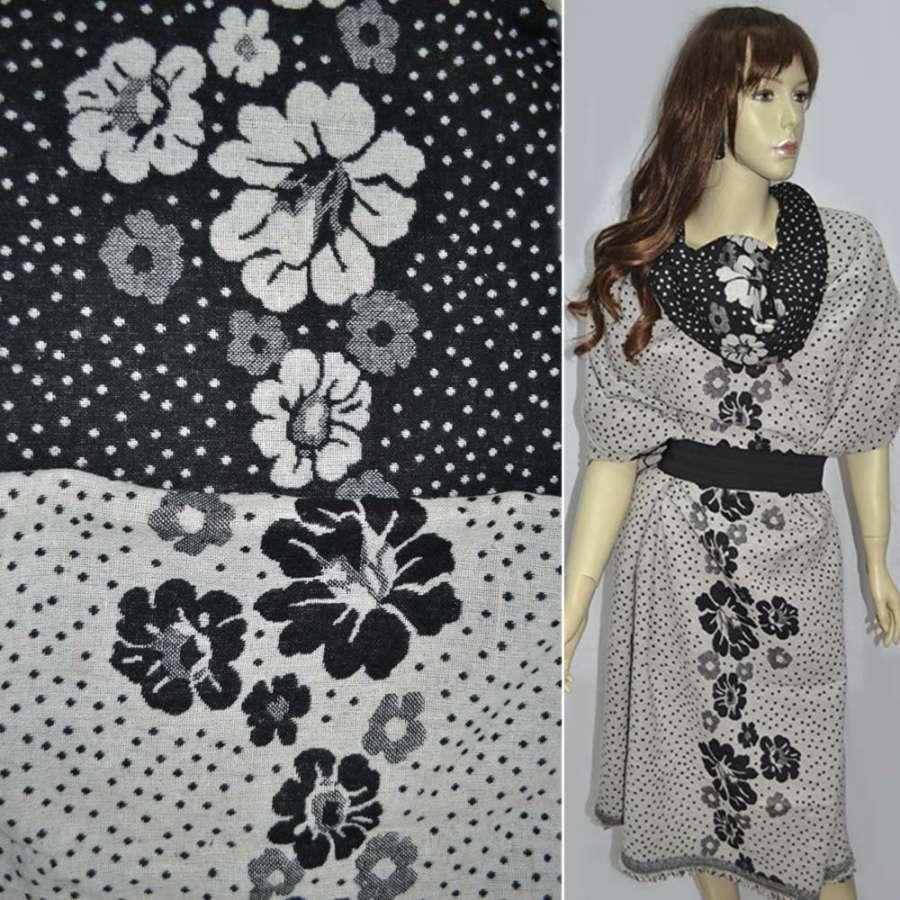 Жаккард костюмний 2-ст. молочно-чорний з крапками і квітами (раппорт) ш.150