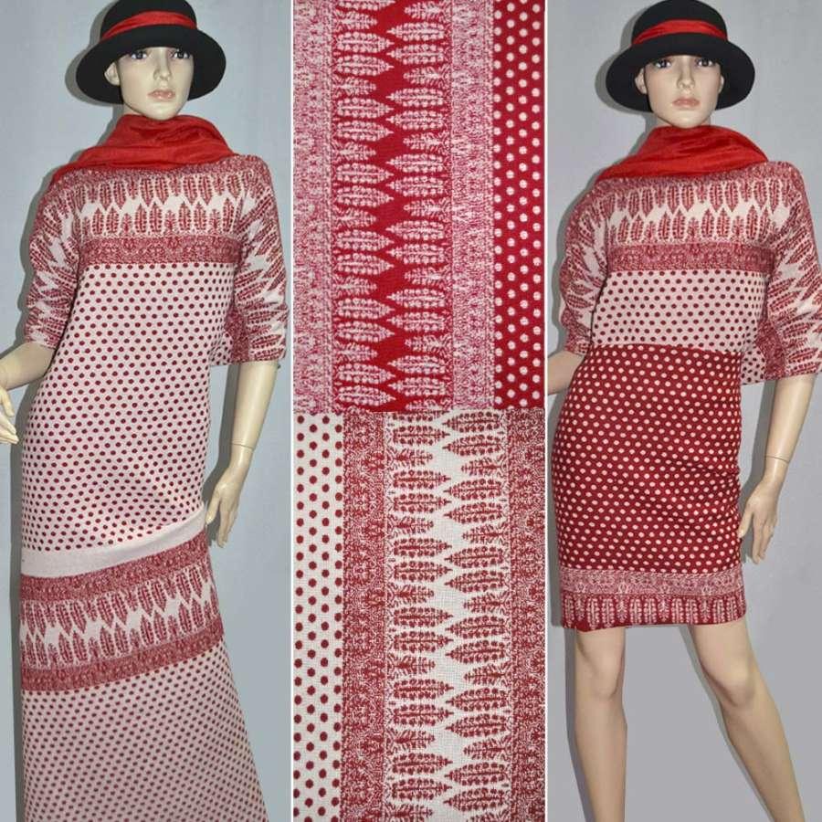 Ткань 2-ст. молочно-красная в горох и купоном ш.150