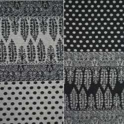 Жаккард костюмный 2-ст. черно-молочный с 2-ст купоном орнамент + крапки ш.150
