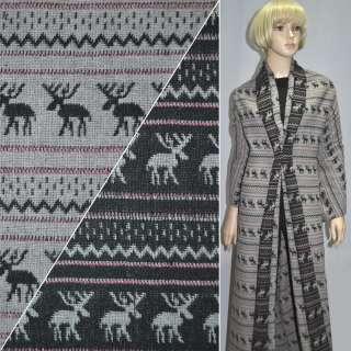 ткань костюм. серо-черная с оленями ш.150