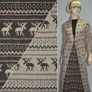 ткань костюм. бежево-коричневая с оленями ш.150