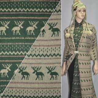 ткань костюм. бежево-зеленая с оленями ш.150