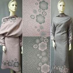 Жаккард костюмный 2-ст. серо-розовый с 2-ст. купоном цветы + крапки ш.150