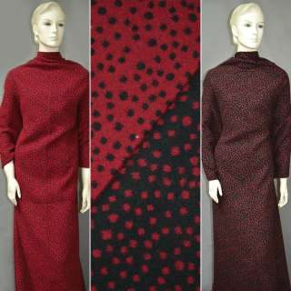 Ткань костюмная 2-ст. черно-красная в горох ш.150
