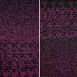 Жаккард костюмный 2-ст. черно-вишневый с 2-ст. купоном ромашки ш.150