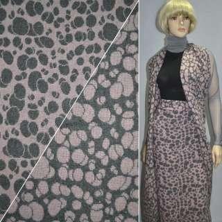 ткань костюм. св/серая с розовыми кругами ш.150