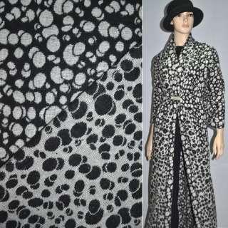 ткань костюм. черная с белыми кругами ш.150